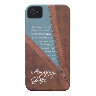 Amazing Grace Hymn Song - Brown Zipper Pull Design iPhone 4 Cover