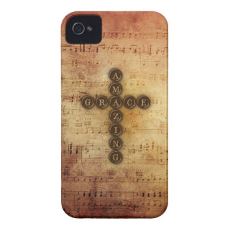 Amazing Grace Hymn with Cross on Vintage Music iPhone 4 Case-Mate Case