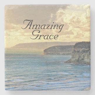 Amazing Grace Ocean Sunset Custom Stone Coaster