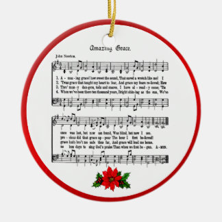 AMAZING GRACE-ORNAMENT Double-Sided CERAMIC ROUND CHRISTMAS ORNAMENT