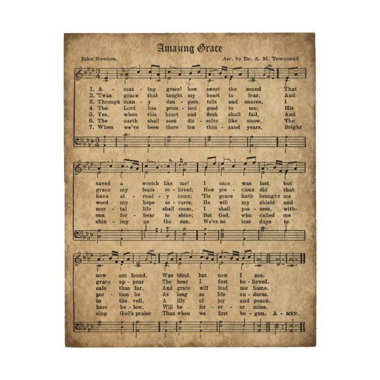 Amazing Grace Lyrics And Sheet Music: Amazing Grace Vintage Hymn Sheet Music Wood Sign