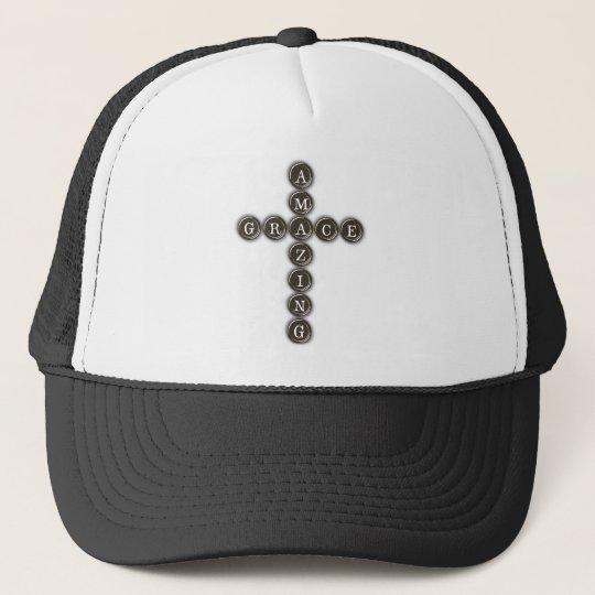 Amazing Grace Word Art Cross Trucker Hat