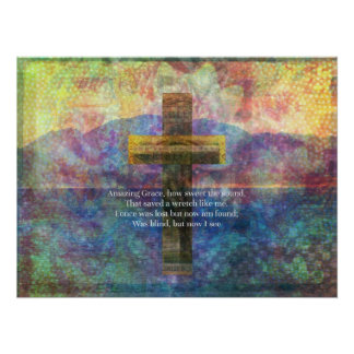 Amazing Grace words with beautiful scenic cross Poster