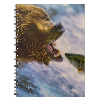 Amazing grizzly bear salmon image notebook