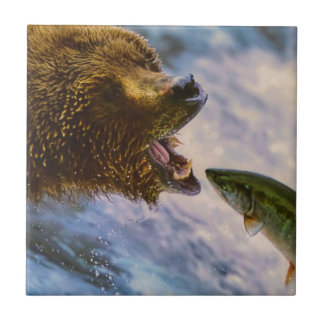 Amazing grizzly bear salmon image tile
