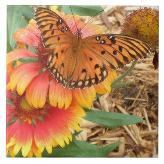 Amazing Gulf Fritillary Butterfly on Gaillardia Large Square Tile