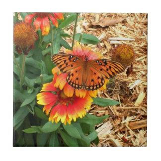Amazing Gulf Fritillary Butterfly on Gaillardia Small Square Tile