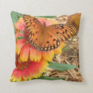 Amazing Gulf Fritillary on Gaillardia Pulchella Throw Pillows