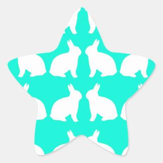 AMAZING HARE DESIGN ON BLUE STAR STICKER