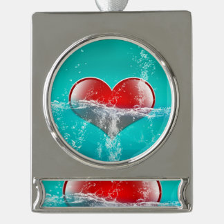 Amazing heart silver plated banner ornament