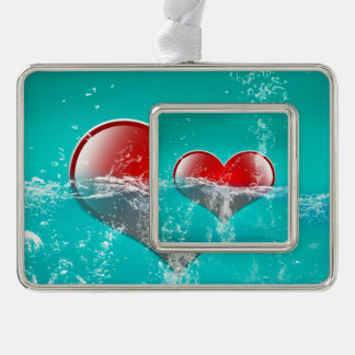Amazing heart silver plated framed ornament