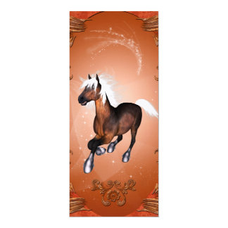 Amazing horse in optics painted with white mane 4x9.25 paper invitation card