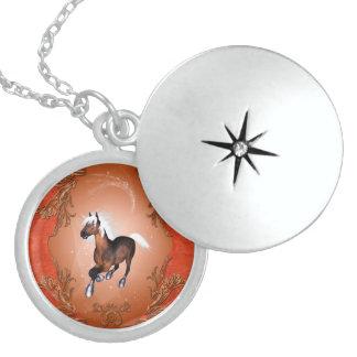 Amazing horse in optics painted with white mane round locket necklace