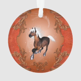 Amazing horse in optics painted with white mane ornament