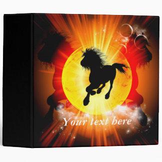 Amazing horse silhouette in black 3 ring binders