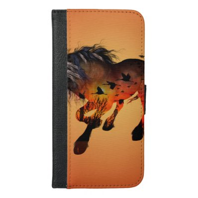 Amazing horse with birds iPhone 6/6S plus wallet case
