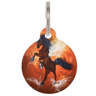 Amazing horse with fire and water pet nametag