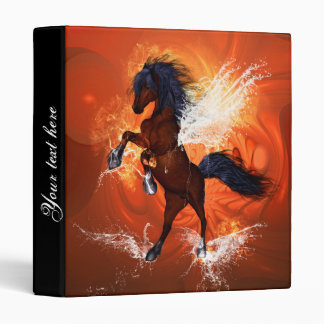 Amazing horse with fire and water splash 3 ring binder