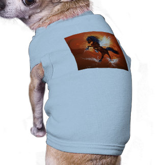 Amazing horse with fire and water splash pet t shirt