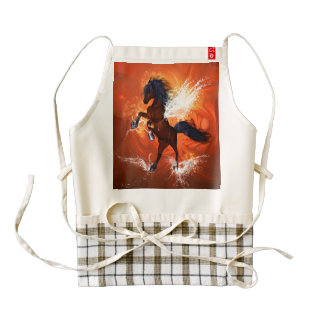 Amazing horse with fire and water splash zazzle HEART apron
