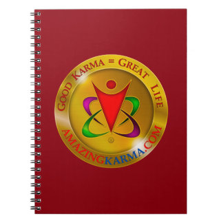 Amazing Karma Gold Coin Logo Red Notebook