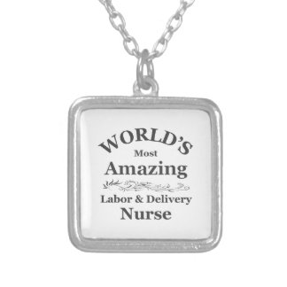Amazing labor and delivery nurse silver plated necklace