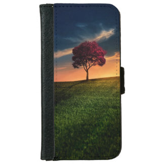 Amazing Landscape with a Red Tree at Sunset Wallet Phone Case For iPhone 6/6s