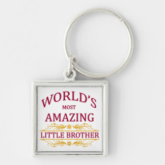 Amazing Little Brother Silver-Colored Square Keychain