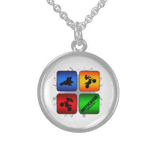 Amazing Motocross Urban Style Sterling Silver Necklace