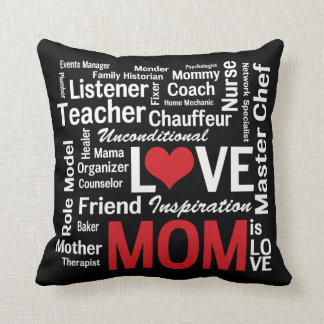 Amazing Multitasking Mom Red and Black Throw Pillow