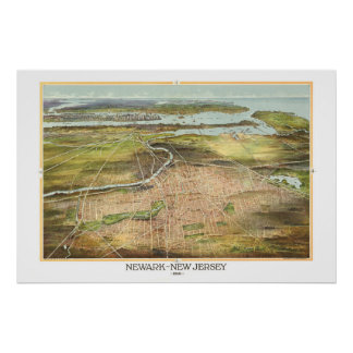 Amazing old map of Newark, New Jersey from 1916 Poster