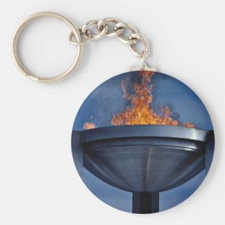 Amazing olympic flame basic round button keychain