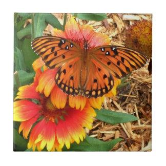 Amazing Orange Butterfly on Gaillardia Small Square Tile