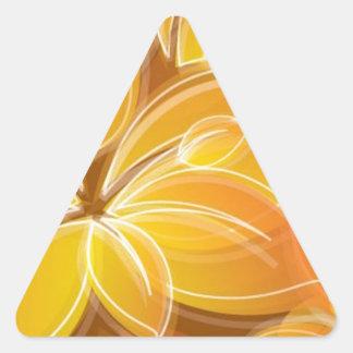 Amazing orange floral elements triangle sticker