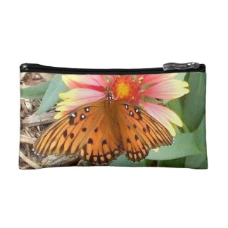 Amazing Orange Passion Butterfly on Gaillardia Makeup Bags