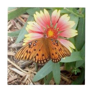 Amazing Orange Passion Butterfly on Gaillardia Small Square Tile