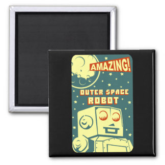 Amazing Outer Space Robot 2 Inch Square Magnet