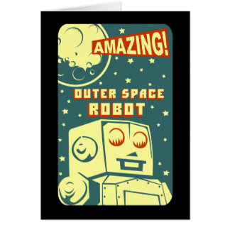 Amazing Outer Space Robot Greeting Card