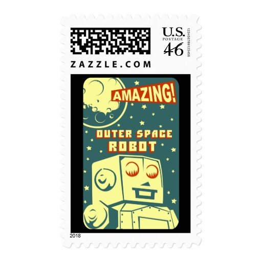 Amazing Outer Space Robot Postage Stamps