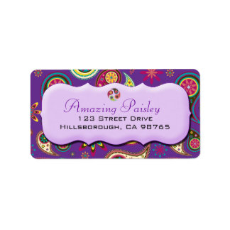 Amazing Paisley in Purple Sticker Address Label