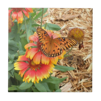 Amazing Passion Butterfly on Gaillardia Tile