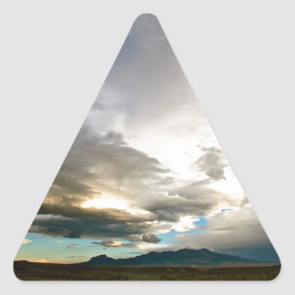 AMAZING PASTEL COLORED SKY AFTER A STORM TRIANGLE STICKER