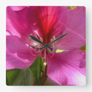 Amazing pink tropical tree flower square wall clock