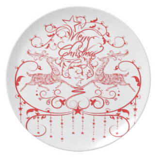 Amazing Red Christmas Design Dinner Plate