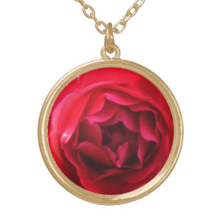 Amazing Red Rose Petals Gold Plated Necklace