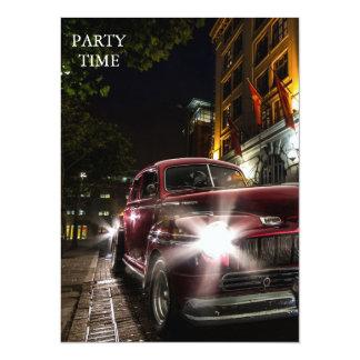"Amazing Red Vintage Car Invitation 5.5"" X 7.5"" Invitation Card"