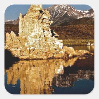 AMAZING REFLECTIONS AT MONO LAKE SQUARE STICKER
