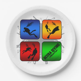 Amazing Scuba Diving Urban Style Paper Plate