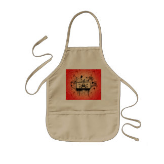 Amazing skull with bones and floral elements kids' apron