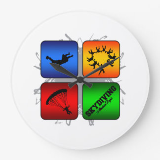 Amazing Skydiving Urban Style Large Clock